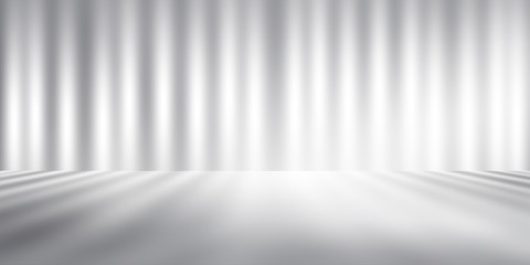 Wall Mural - white and gray studio room background, grey floor backdrop with spotlight.