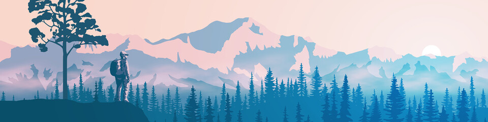 Wall Mural - A tourist with a backpack on a rock meets dawn. Morning haze, the light of sunrise. Vector illustration of mountains, ridge in the morning haze, panoramic view.