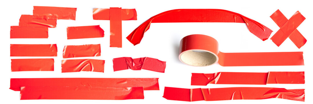 Set of Red tapes on white background. Torn horizontal and different size Red sticky tape, adhesive pieces.