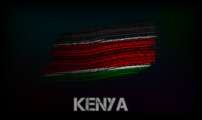 Flag of the Kenya. Vector illustration in grunge style with cracks and abrasions. Good image for print Wall mural