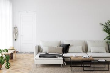 Wall mockup in scandinavian interior. Interior wall mockup. Wall art. 3d rendering, 3d illustration