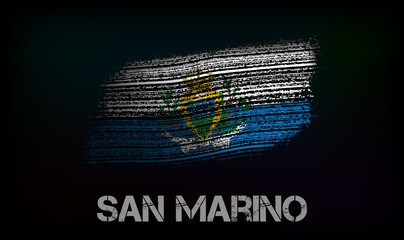 Flag of the San Marino. Vector illustration in grunge style with cracks and abrasions. Good image for print Wall mural