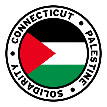 Round Connecticut Palestine Solidarity Flag Clipart