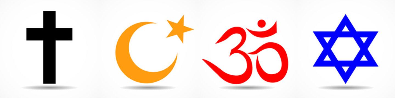 Set of World religion symbols - Christianity, Islam, Hinduism and Judaism. Vector illustrator