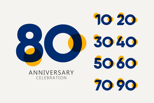 80 Years Anniversary Celebration set Logo Vector Template Design Illustration