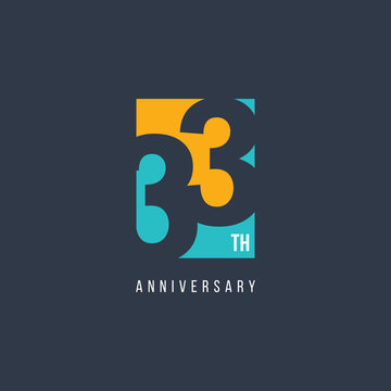 33 Th Anniversary Celebration Logo Vector Template Design Illustration