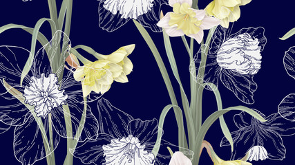Floral seamless pattern, daffodil flowers with leaves on dark blue
