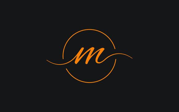 m Lowercase Letter Cursive Icon or Logo design, Vector Template