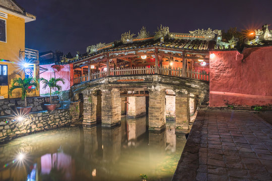 Hoi An Town - View of the Japanese Bridge in Hoi An. Vietnam, Unesco World Heritage Site.