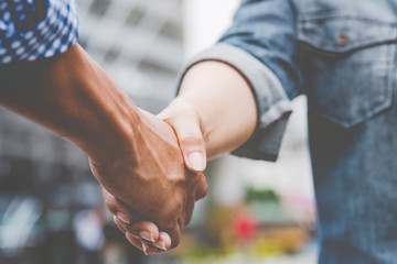 Trust Business Partner Teamwork and Partnership. Industry contractor fist bump dealing mission business. Mission team meeting group of People Fist bump Hands together. Business industry trust teamwork