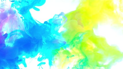 Fototapete - 4K ,Abstract Ink colours flowing in water, Color paint drops in water ,  4K footage,