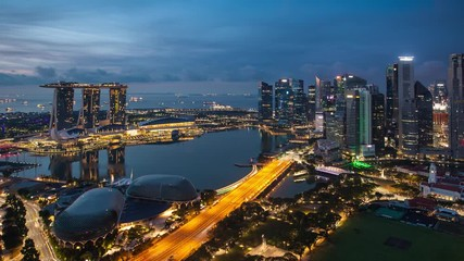 Fotomurales - Time lapse - Singapore cityscape with rainbow, Asia