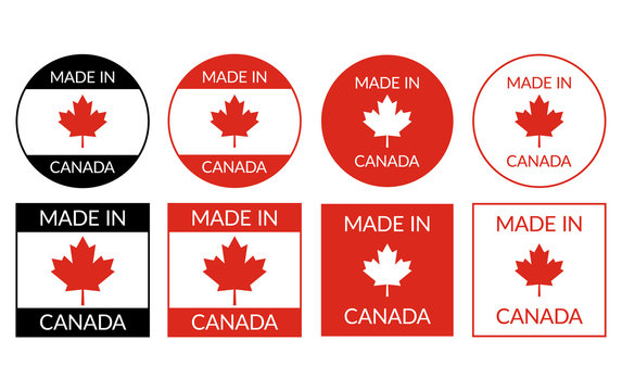 Made in Canada labels badge logos sticker in different variations for Canadian-made products