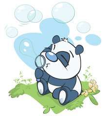 Vector Illustration of a Cute Cartoon Panda