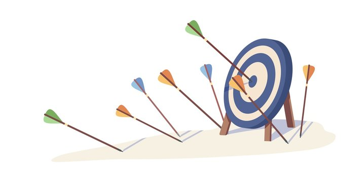 Cartoon arrows missed hitting target mark isolated on white background. Multiple fail inaccurate attempt hit archery goal vector illustration. Concept of business strategy and challenge failure