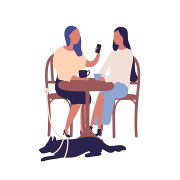 Two cartoon girl friend sit at table in cafe talk use smartphone together vector flat illustration