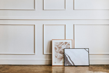 Picture frames on the floor