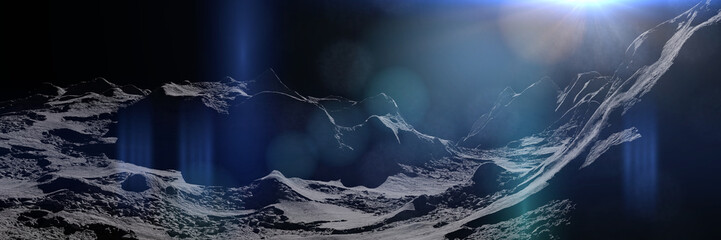 Stores photo Bleu nuit Moon surface, lunar landscape
