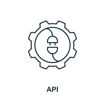Api icon from fintech collection. Simple line Api icon for templates, web design and infographics