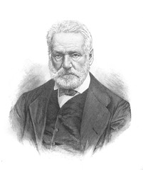 Portrait of Victor Hugo, a French poet, novelist, and dramatist of the Romantic movement in the old book The Literature of XIX century, by E.A. Solovieva, 1895, St. Petersburg