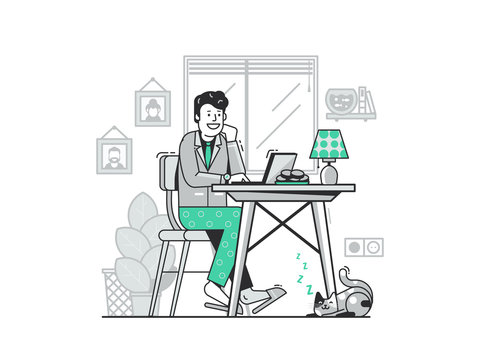 Freelancer Work from Home Flat Concept