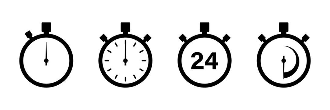 Timers icon on white background. Isolated vector set of elements time or timer. Stopwatch symbol. Vector countdown circle clock counter timer. Fast time icon. Circle arrow icon.