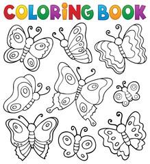 Zelfklevend Fotobehang Voor kinderen Coloring book various butterflies theme 1