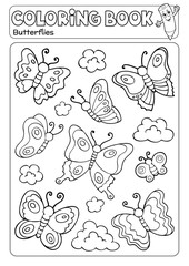 Self adhesive Wall Murals For Kids Coloring book various butterflies theme 2