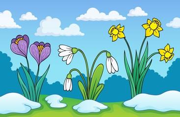 Spoed Fotobehang Voor kinderen Early spring flowers theme image 1