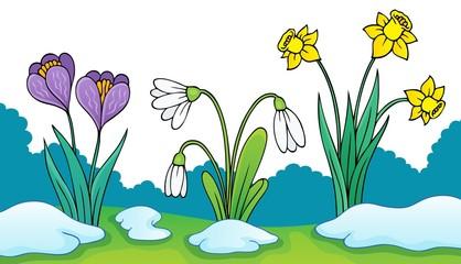 Spoed Fotobehang Voor kinderen Early spring flowers theme image 2