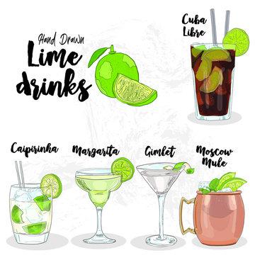 Hand Drawn Colorful Lime Drinks Set. Cuba Libre, Caipirinha, Margarita, Gimlet and Moscow Mule.