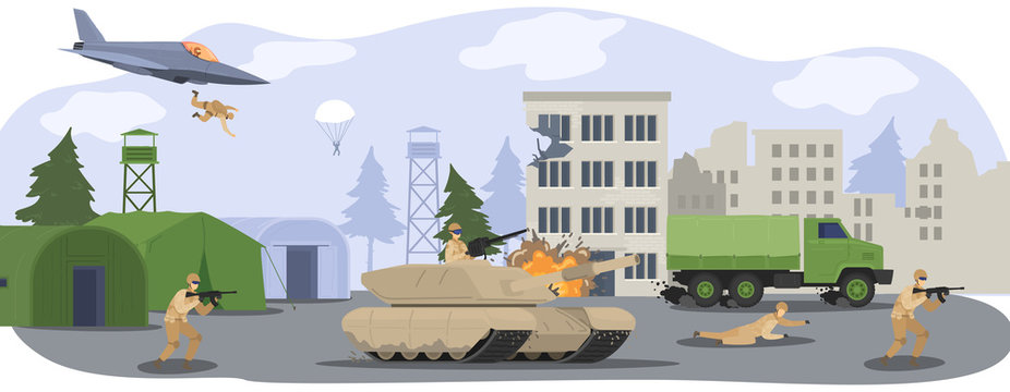 People in military camp base, soldiers in camouflage uniform at war with gun, militarian tank and airplane cartoon vector illustration. Military base and equipment, professional wartime.