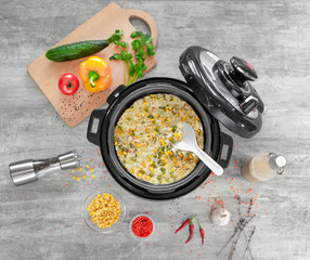 A convenient way to cook in a multicooker of any dishes and recipes and rice with vegetables