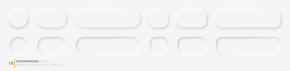 White buttons in Neomorphism design style. Vector illustration EPS 10