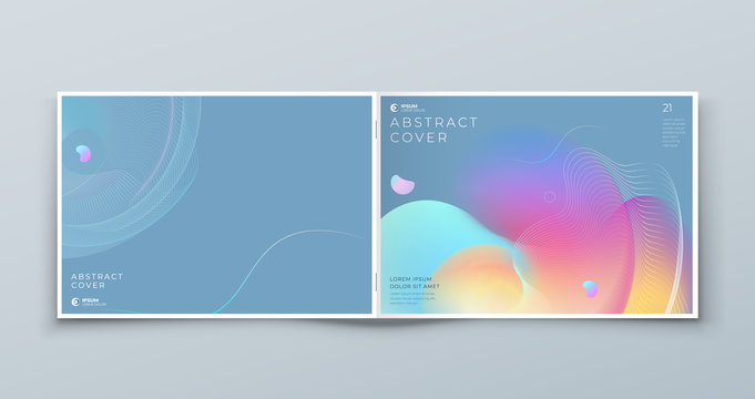Horizontal Liquid Abstract Cover Background Design. Landscape Fluid Dynamic Element for Modern Brochure, Banner, Poster, Flyer or Presentation Template with Line Pattern.