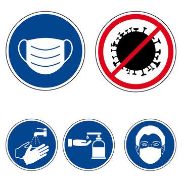 Corona 2020 - Schilder Set (Maske, Desinfektion, Virus, Seife, Hände waschen)