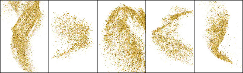 Set of Gold Glitter Texture Isolated On White. Amber Particles Color. Stardust Background. Golden Explosion Of Confetti. Vector Illustration, Eps 10.