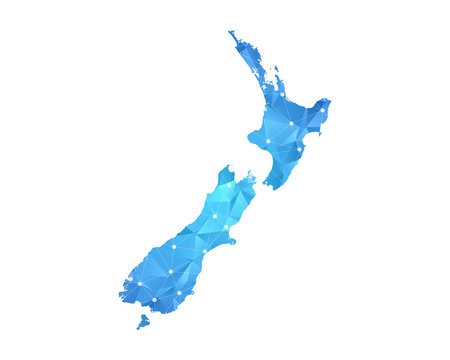 New Zealand Map - Abstract geometric rumpled triangular low poly style gradient graphic on white background , line dots polygonal design for your . Vector illustration eps 10.
