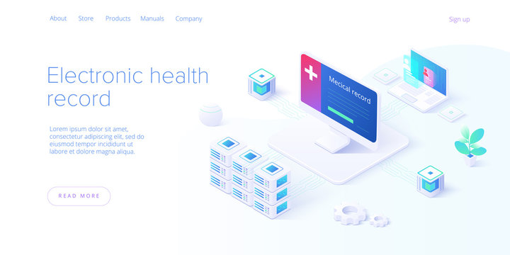Electronic health record concept in isometric vector design. Male doctor or physician with EHR database in smartphone. Healthcare or medical patient data storage system. Web banner layout template.