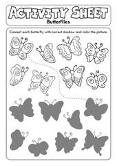 Zelfklevend Fotobehang Voor kinderen Activity sheet butterflies 1