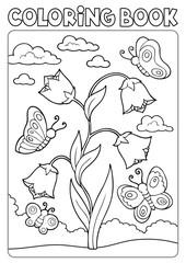 Zelfklevend Fotobehang Voor kinderen Coloring book bellflower and butterflies