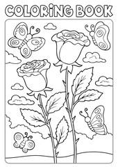Zelfklevend Fotobehang Voor kinderen Coloring book roses and butterflies
