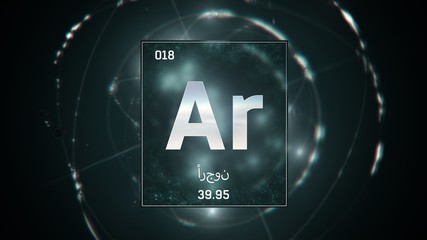 Fototapeta 3D illustration of Argon as Element 18 of the Periodic Table. Green illuminated atom design background orbiting electrons name, atomic weight element number in Arabic language