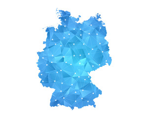 Germany Map - Abstract geometric rumpled triangular low poly style gradient graphic on white background , line dots polygonal design for your . Vector illustration eps 10.