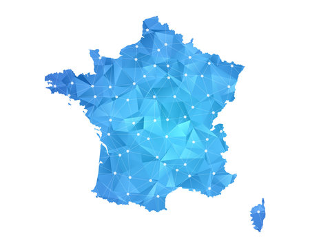 France Map - Abstract geometric rumpled triangular low poly style gradient graphic on white background , line dots polygonal design for your . Vector illustration eps 10.