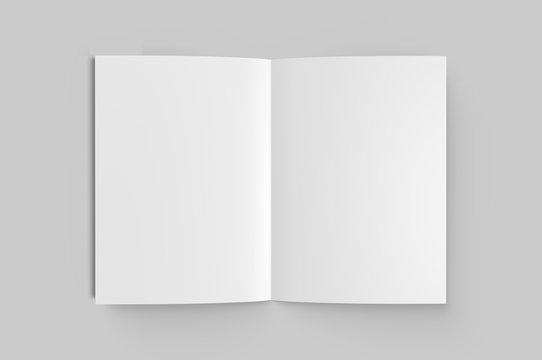 Blank half fold brochure template for mock up and presentation design. 3d render illustration.