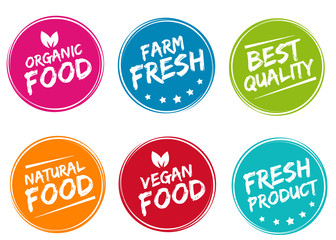 Wall Mural - Set of colorful labels and badges for organic, natural, bio and eco friendly products isolated on white background. Eps10.