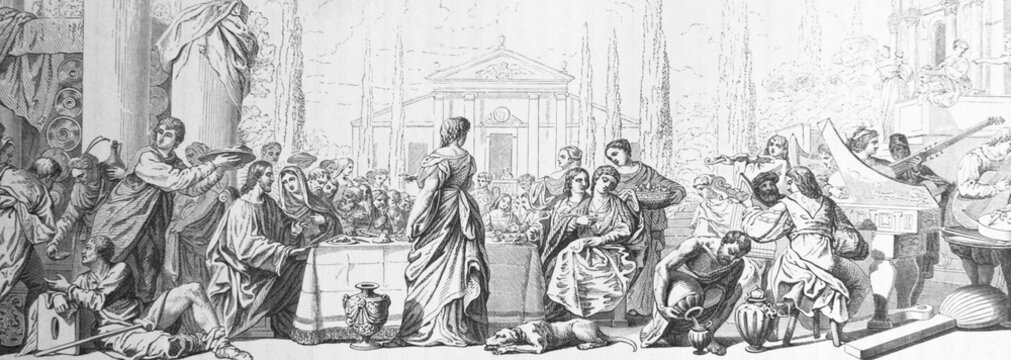 The wedding of Cana by Padovanino or Varotari Alessandro Leone in the old book Histoire des Peintres, by M. Blanc, 1868, Paris