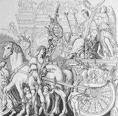 Fototapeta The Caesar's Triumph by Andrea Mantegna, an Italian painter in the old book Histoire des Peintres, by M. Blanc, 1868, Paris obraz