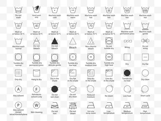 Laundry symbols icon set. Vector illustration, flat design. Fotomurales